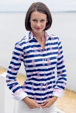 Dizzy Lizzie Vero Shirt Double Collar Pink Pineapple