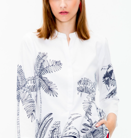 Vilagallo Martha Shirt Navy Palm