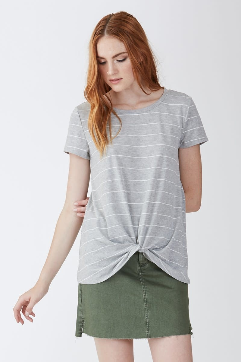 Another Love Another Love Julia Knot Front Tee Gray/White