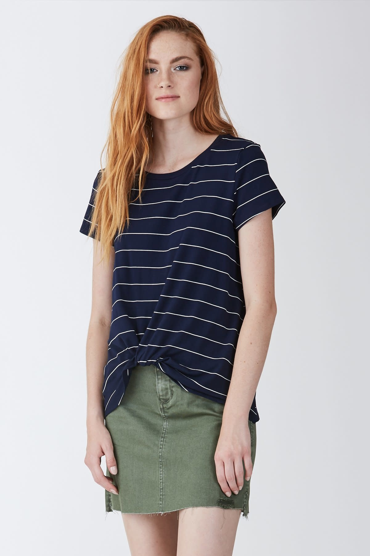 Another Love Julia Knot Front Tee Navy White