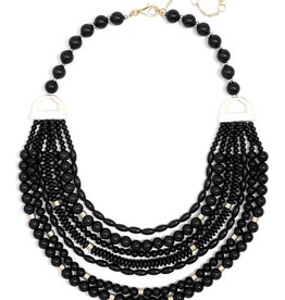 Jewelry Mixed Beads Layered Necklace Black