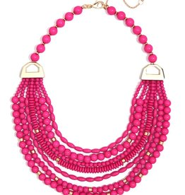 Jewelry Mixed Beads Layered Necklace Hot Pink