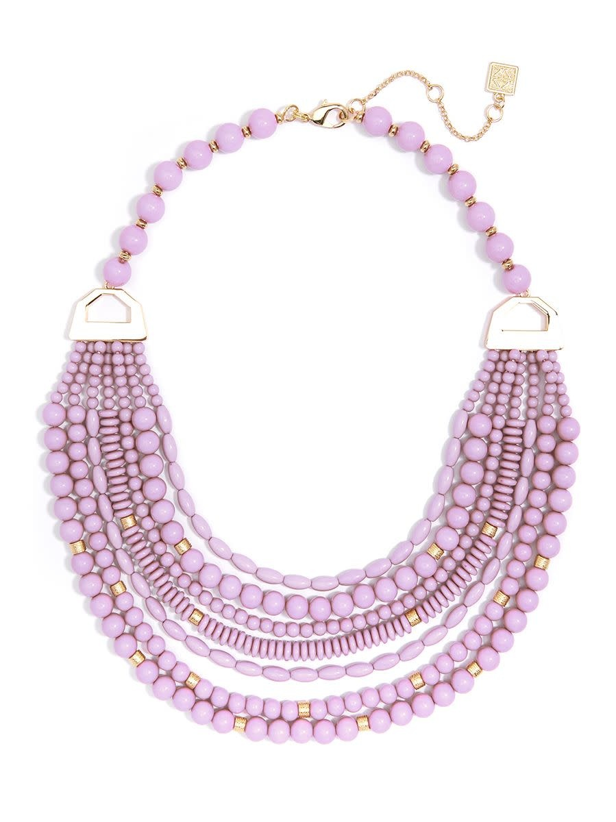 Jewelry Mixed Beads Layered Necklace Lavender