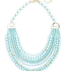 Jewelry Mixed Beads Layered Necklace Mint