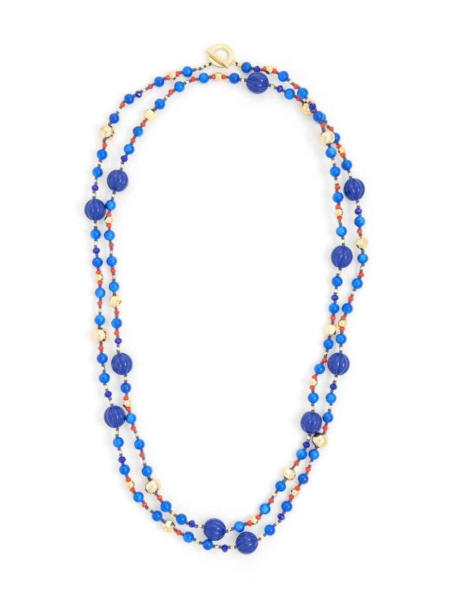 Jewelry Beaded Bubbles Long Necklace Cobalt