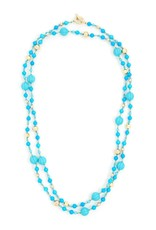 Jewelry Beaded Bubbles Long Necklace Turquoise