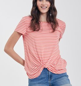 Another Love Julia Knot Front Tee Tangerine White
