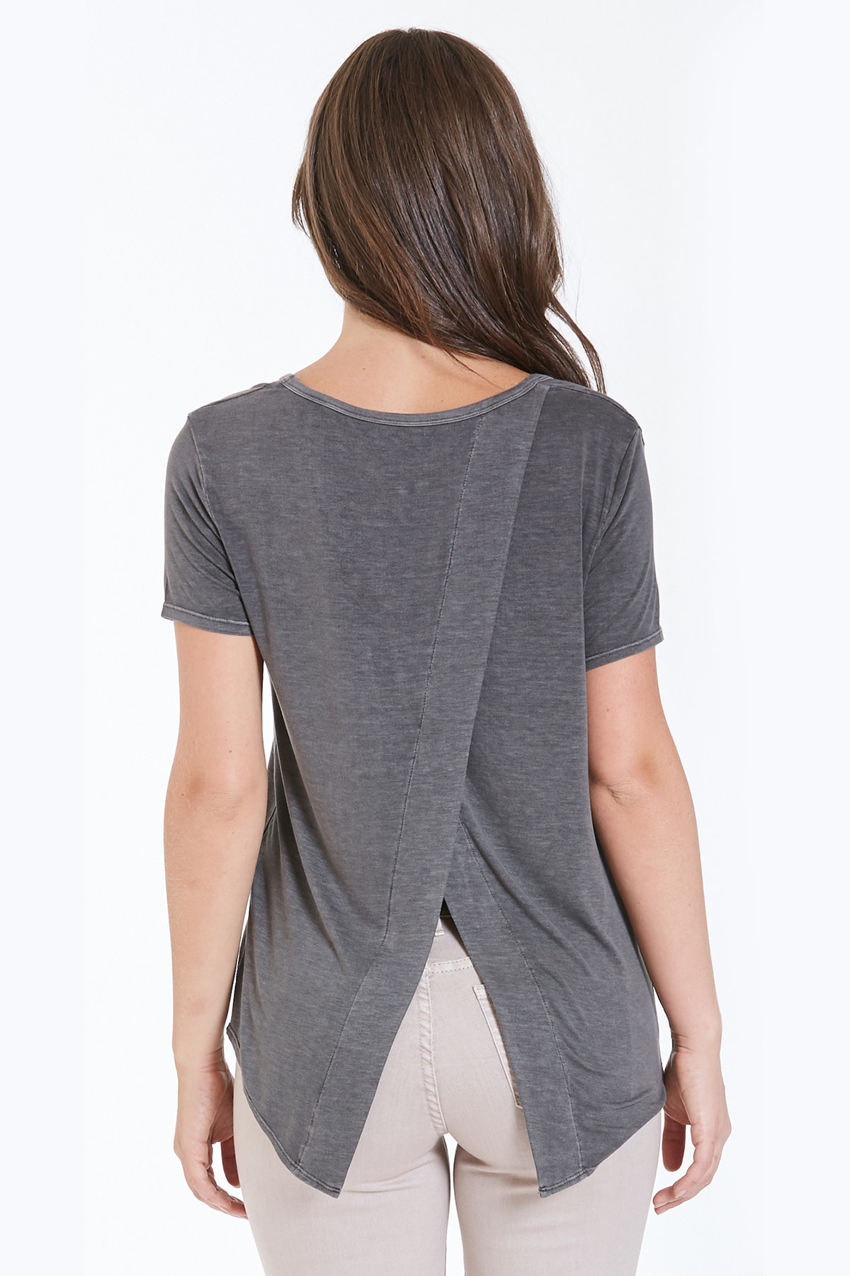 Dear John Suki Tee w/ Embroidered Pocket Gray
