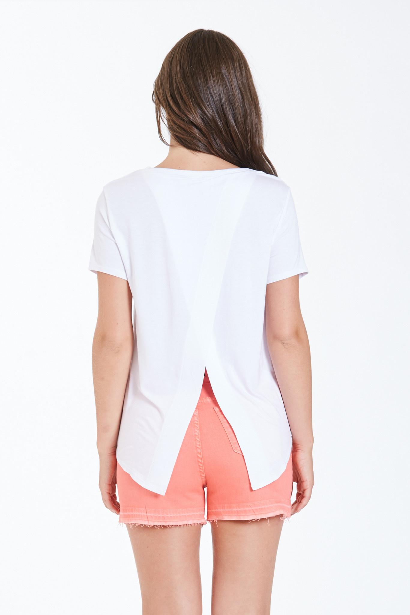 Dear John Suki Tee w/ Embroidered Pocket White