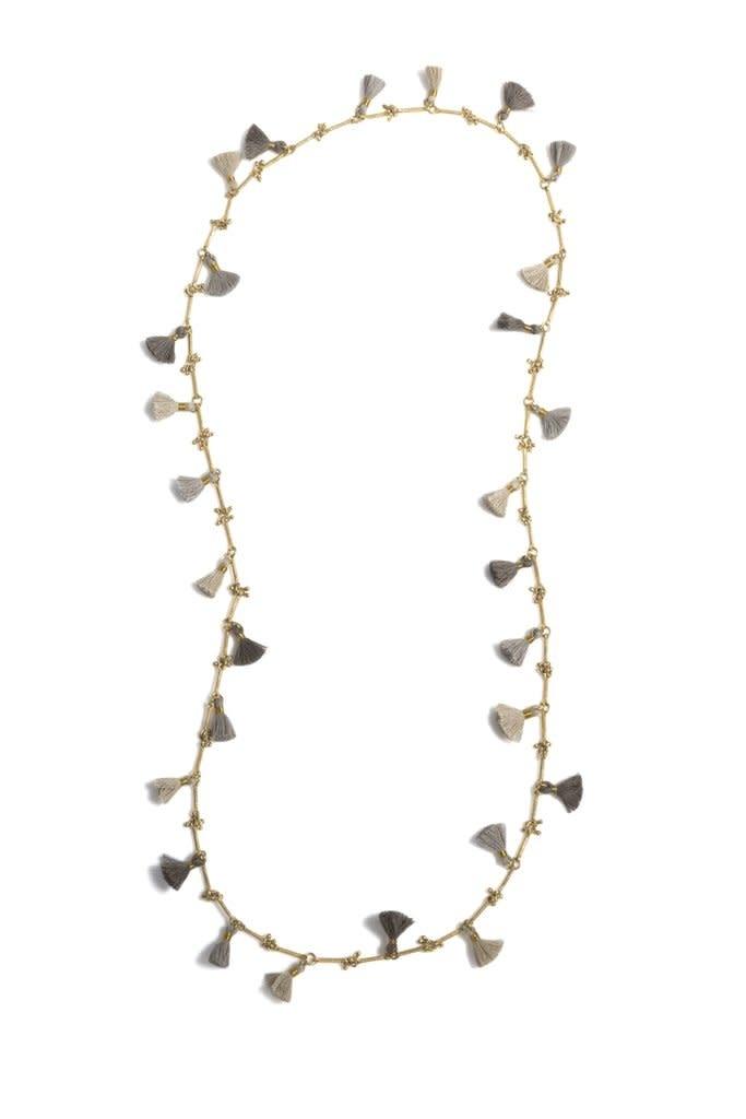 Shiraleah Freya Tassel Necklace Gray