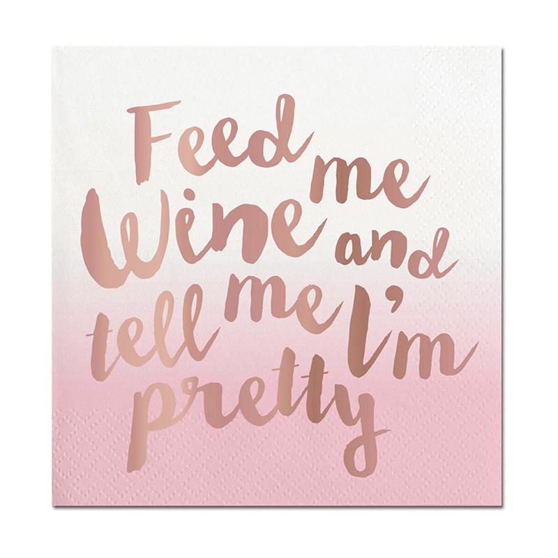 Slant Feed Me Wine Napkins 20 CT