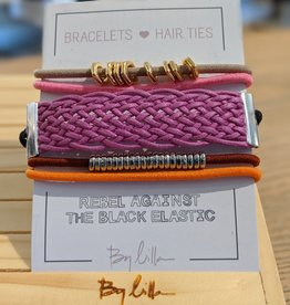 By Lilla Stack Bracelet & Hair Tie Pink Braid