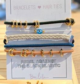 By Lilla Stack Bracelet & Hair Tie Evil Eye