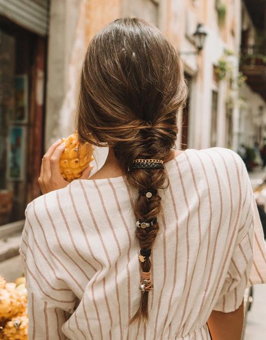 By Lilla Stack Bracelet & Hair Tie Pink Braid