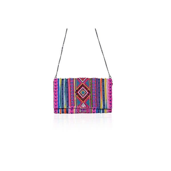 America & Beyond Aztec Beaded Clutch