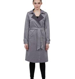 Love Token Adrianna Ultra Suede Lightweight Trench Coat Gray