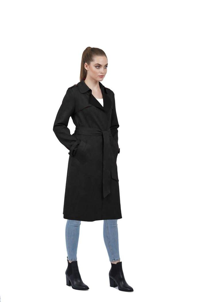 Love Token Adrianna Ultra Suede Lightweight Trench Coat Black