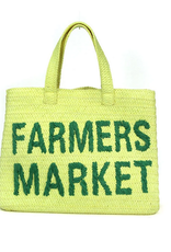 BTB Farmers Market Straw Tote Yellow