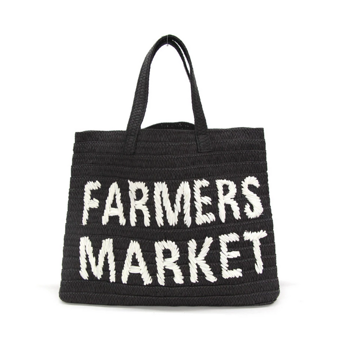 BTB Farmers Market Straw Tote Black