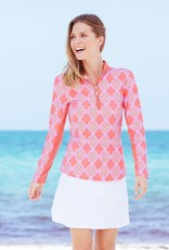 Cabana Life Coral Geo Performance Zip Top