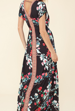 Hale Bob Short Sleeve Floral Maxi Black
