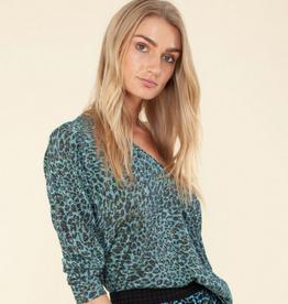 Hale Bob Lurex Sweater Leopard Blue
