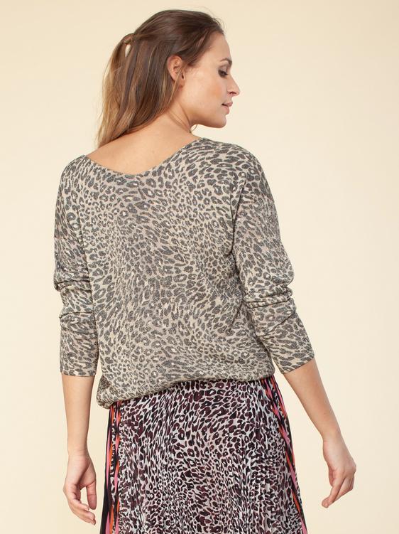 Hale Bob Lurex Sweater Leopard Brown