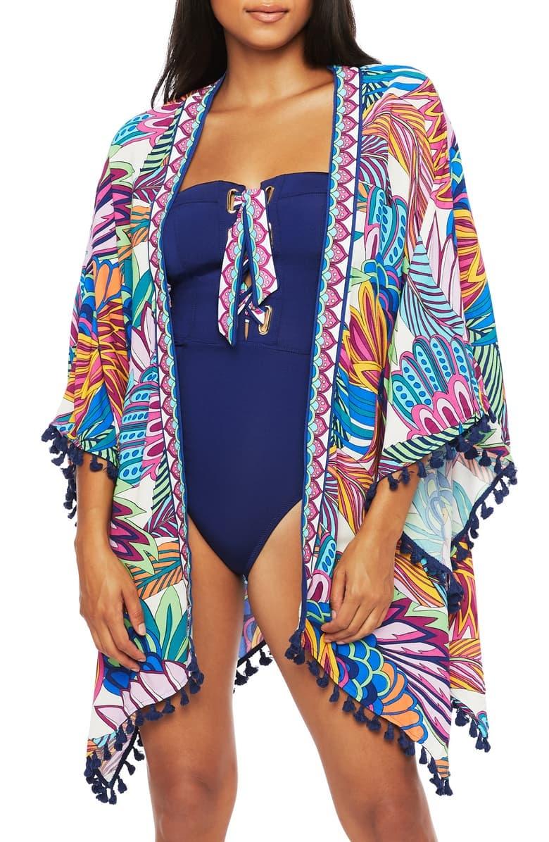 Trina Turk Swim Paradise Tassel Detail Open Cover-Up