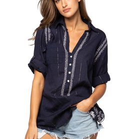 Subtle Luxury Boyfriend Shirt Navy Silver Lurex