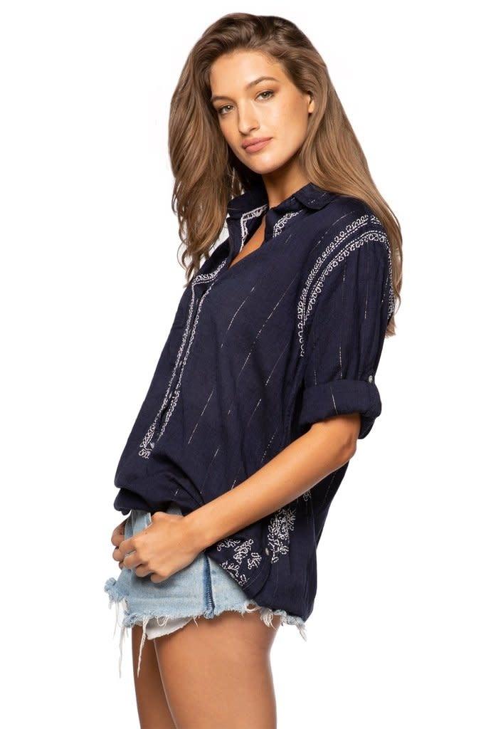 Subtle Luxury Boyfriend Shirt Navy Silver Lurex