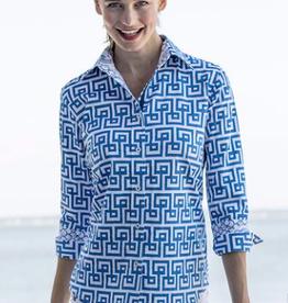 Dizzy Lizzie Rome Shirt  Blue White Geo