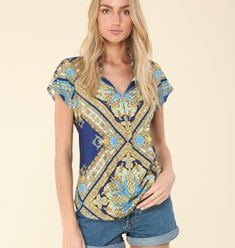 Hale Bob Collared Top Blue Gold