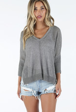Bobi Black V Neck Sweater Gray