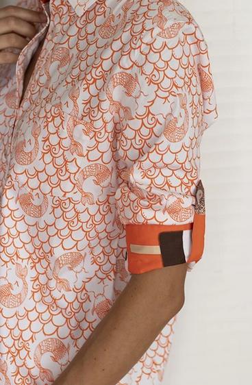 Dizzy Lizzie Cannes Shirt Koi Orange