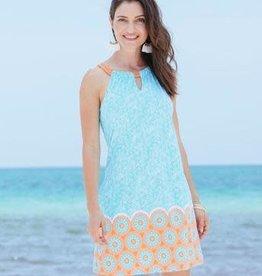 Cabana Life Halter Dress Aqua Citrus