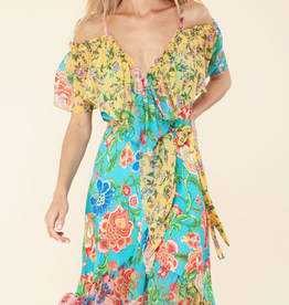 Hale Bob Cold Shoulder Dress Floral