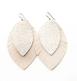 Keva Style Leather Earring  White Gold 3""