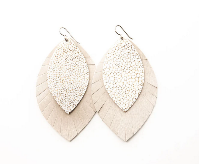 """Keva Style Leather Earring  White Gold 3"""""""