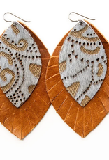 """Keva Style Leather Earring Gray Brown 3"""""""