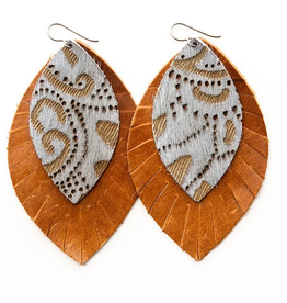Keva Style Leather Earring Gray Brown 3""