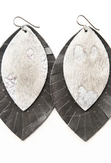 """Keva Style Leather Earring Silver Gray 3"""""""