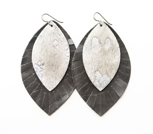 "Keva Style Leather Earrings Silver Gray 3"""