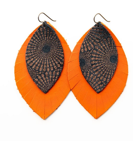 Keva Style Leather Earring Bronze Orange 3""