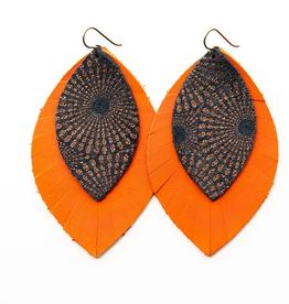 """Keva Style Leather Earrings Bronze Orange 3"""""""