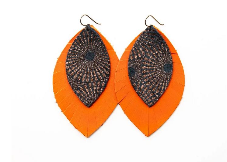 "Keva Style Leather Earring Bronze Orange 3"""