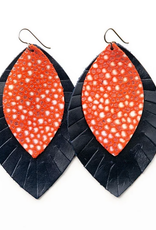 Keva Style Leather Earrings Coral Navy 3""