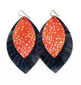 Keva Style Leather Earring Coral Navy 3""