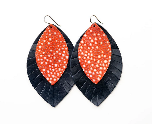"""Keva Style Leather Earring Coral Navy 3"""""""