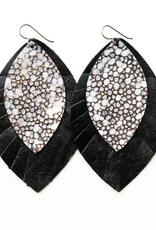 Keva Style Leather Earring Black Bronze 4""