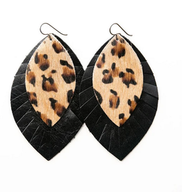 Keva Style Leather Earring Leopard Black 4""